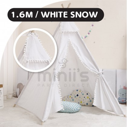 Miniis Teepee Tent Children's for Boys & Girls, Large Foldable Play Tent Canvas Tipi Tents And Soft Round Mat Carpets