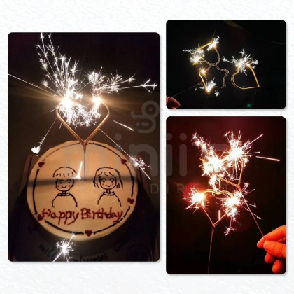 Miniis Sparkle Fireworks Cake Toppers Candle Love Star Gold Birthday Cake Candle for Birthday Party Wedding Decoration