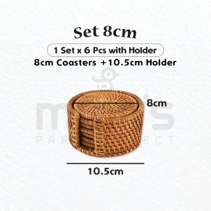 Miniis Set of 6 + Container Natural Rattan Coasters Round Shape Creative Gift for Coffee Glass Drink Tea Mat Decoration Rattan Heat Insulation Placemats