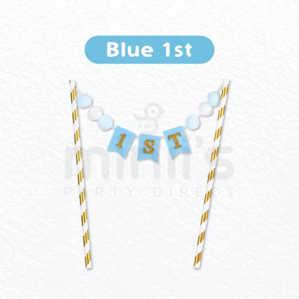Miniis Cute Baby Pink Blue Happy Birthday Cake Topper 100days 1st One For Birthday Party Decoration Boy And Girl