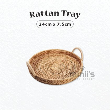 Miniis Round Rattan Tray Bread Basket Serving Tray With Handles Decoration For Breakfast Fruit Dinner Parties Kitchen