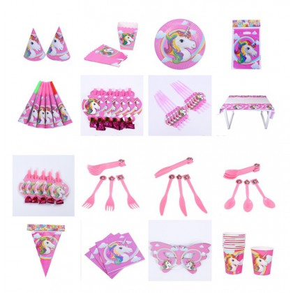 149 PCS Unicorn Birthday Party Bundle Pack Birthday in a Box Birthday Party Supplies Serves 10 Guests