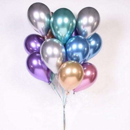 """10 pcs / 20 pcs Metallic 12"""" inch Latex Shiny Chrome Balloons, Multicolor Silver Gold Red Green Blue Rose Gold"""