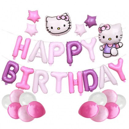 Hello Kitty Theme  Happy Birthday Balloons Banner Birthday Party Favors for Kids or Girls