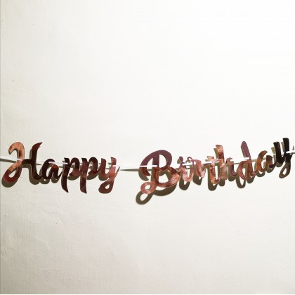 INS Happy Birthday Letter Banner Gold Silver Paper  Flag Decoration
