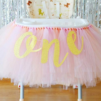 1st Birthday Baby Party Decoration High Chair Glitter Gold ONE Banner