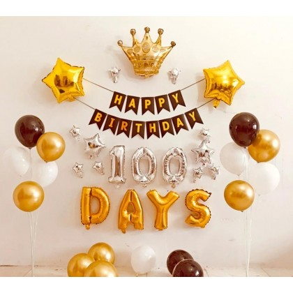 Ins 100 Days Party Aluminum Balloons  Children's Birthday Party Decorations  Set Gold Full Moon  30 Days