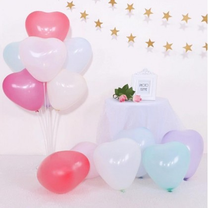 Minii's 10 Inch Heart Shape Love Shape Latex Balloons for Valentines Day Wedding Balloons Party