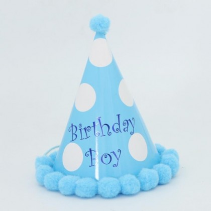 Miniis Happy Birthday Party Paper Cone Hat  with Pom Poms Birthday Paper Hats for Boys and Grils