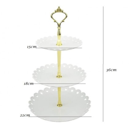 Minii's  3-Tier White Dessert Cake Stand, Plastic Pastry Stand Small Cupcake Stand Cookie Tray Rack Candy Buffet Set Up Fruit Hight TeaPlate