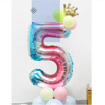 115cm  Numbering Huge Metal Balloon Stand With Crown Silver Gold Rainbow 32 Inch Number Foil Balloons
