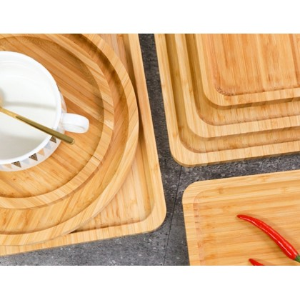 Minii's Bamboo Rectangle  Round Thicken solid wood Plate Bread  Cheese Plates Coffee Tea Serving Tray Fruit platters Party Dinner Hnad Made Plates