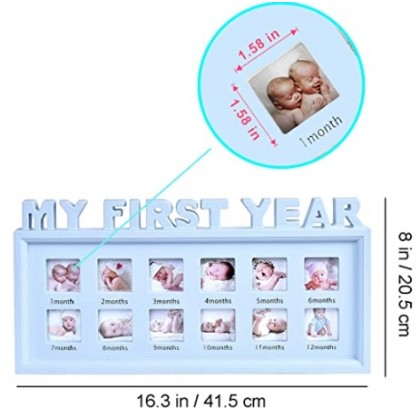 Minii's 12 Months My First Year Photo Frame  Newborn Photographs Albums Picture Memorable Photo Collage Frame