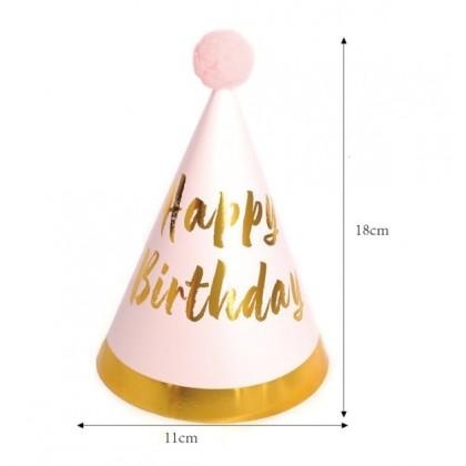 Miniis Plush Ball Sequins Gold Birthday Party  Paper Cone Hats Cuties for Boys and Grils Farewell Adult Party