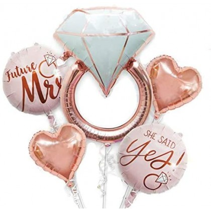 Miniis Premium32 inch Diamond Ring Foil Balloon 22inch Rose Gold She Said Yes Balloon Future Mrs Foil Balloons Rose Gold Heart shape Foil Balloon Great for Bridal Shower Bride to be Party Wedding Engagement Decoration