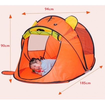 Minii's Cartoon Play Tent for Kids Boys and Girls Foldable Gifts Playhouse for Indoor Outdoor Fun Games Tiger Bear Tent