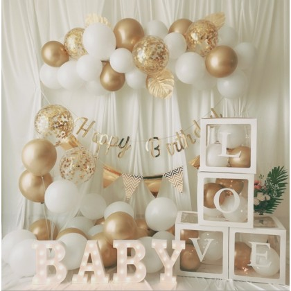 Minii's INS White Gold Birthday Balloons Garland Background Wall Photography Decor