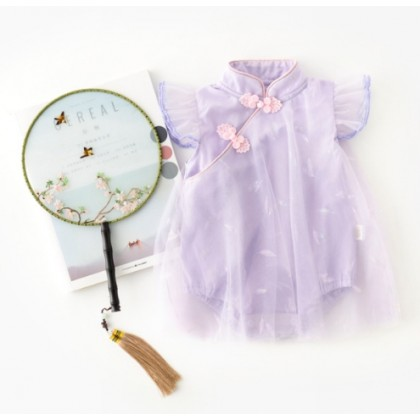 Miniis Ancient Style Retro Cheongsam Embroidery Dress Romper For Baby Girl Outfits Baby Clothes Pink Purple