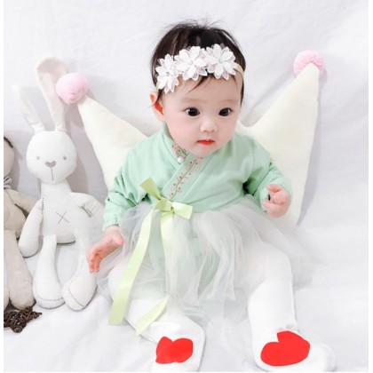 Miniis Hanfu Cross Embroidered  Collar Flower Design With Chinese Ancient Style Baby Girl Out Fit Pink Green
