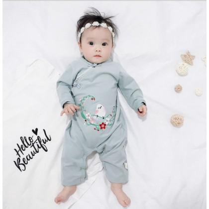 Miniis Baby Ancient Style Embroidered Florist With Bird Hanfu For Baby Girl Green