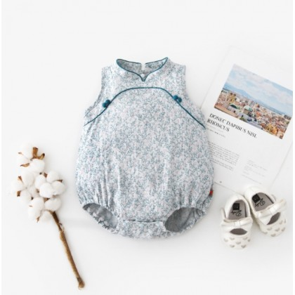 Miniis Chinoiserie Style Floral Retro Baby Cheongsam Embroidery Bodysuit For Baby Girl Outfits Baby Clothes