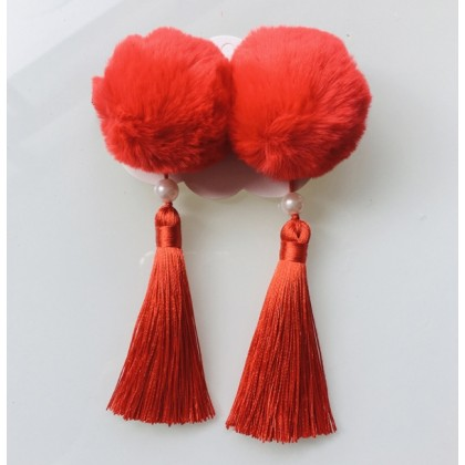 Miniis Traditional Festival Baby Girls Chinese Style Hairy Furry Balls Bows Tassels Hair Clips Barrettes for Kids Festival