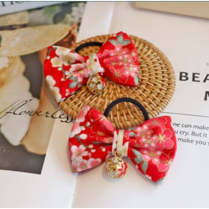 Miniis Traditional Festival Baby Girls Chinese Style Red Hair Ties for Kids Festival