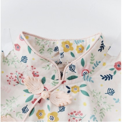 Preorder Miniis Retro Floral Retro Cheongsam Embroidery Bodysuit For Baby Girl Outfits Baby Romper With Headband