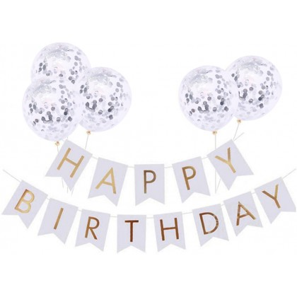 Miniis Multicolor HAPPY BIRTHDAY Banner with 5 pcs Confetti Balloons Rose Gold Pink Blue Silver