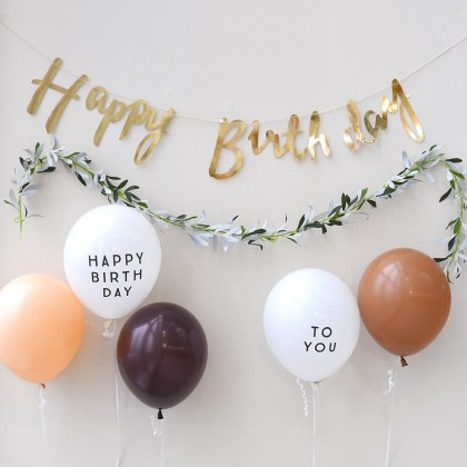 Miniis Ins 4Pcs 2.8g White 12 Inch HAPPY BIRTHDAY TO YOU Letter  Latex Balloons