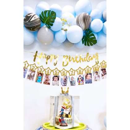 Miniis Ins 13 Pcs Glitter Gold Baby's first birthday party photo garland banner, background photo wall decoration
