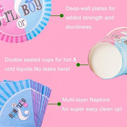 Miniis Blue Pink Boy or Girl Gender Reveal Party Supplies Decorations - For 16 Guest Baby Gender Reveal