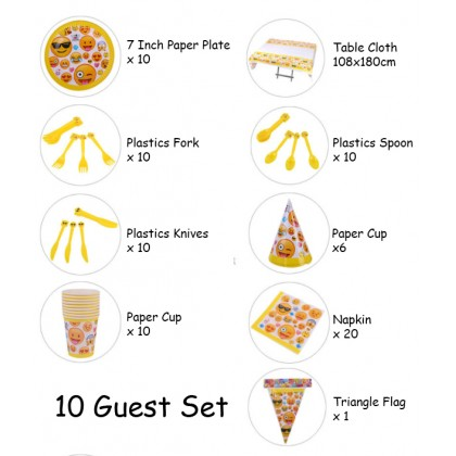 Miniis Yellow Smiley Face Emoji Birthday Party Pack For 10 Guest Disposable Tableware Set