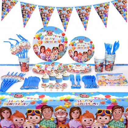 Cocomelon Party Supplies Kit - Cocomelon Party Favors Birthday Party Decoration Table Cover Plates Cups Napkins For 10 Guest Disposable Tableware Set
