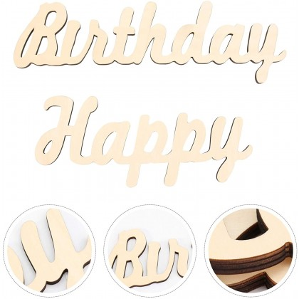 Miniis INS Style Wood Simple Fast Birthday Decoration Wooden Happy Birthday Letters Sign  Burlap Banner