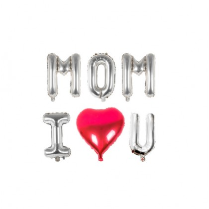 """Miniis Mothers Day Balloons Party Decoration I Love Mom 16"""" Letter Foil Balloon - Best Mom Ever Decorations Mother's Grandma"""