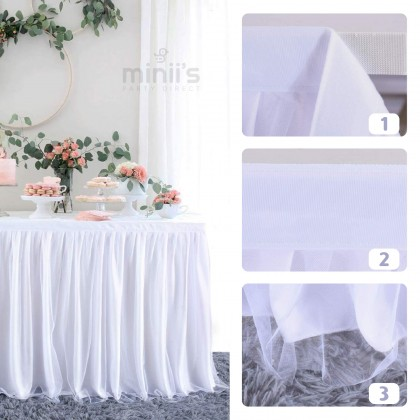 Miniis 1.9m 2.8m 4.5m Tutu Table Skirt Baby Shower Wedding Birthday Tulle Table Skirting for Round or Rectangle Tables Colour Pink Blue White