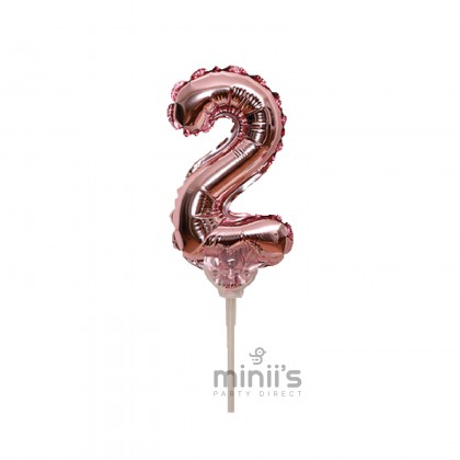 Miniis Cake Topper Numbers 0-9 5 Inch Rose Gold Foil Balloon For Mini Cake Decoration Wedding Birthday Party Decortion