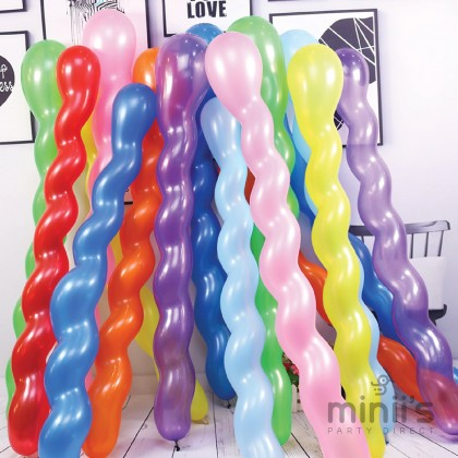Miniis Spiral Balloons Wave Balloons for Assorted Boys Girls Birthday Party Balloon 1 Pack 10pcs Mix Color